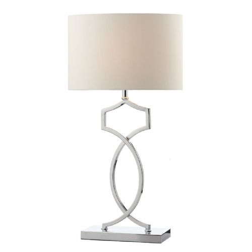 Donovan Table Lamp Polished Chrome complete with Shade DON4250 (Class 2 Double Insulated)